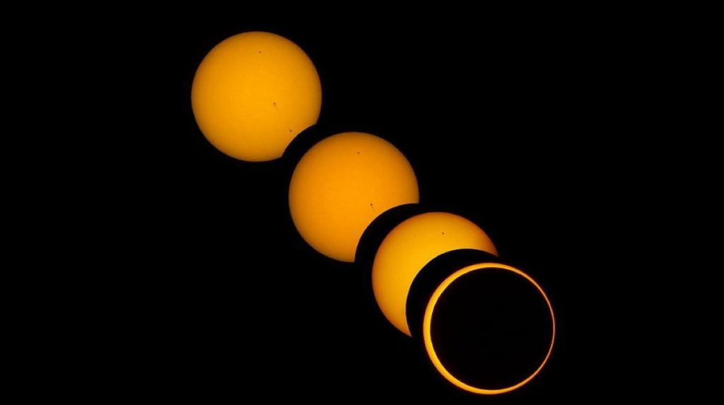 A solar eclipse taken from Apollo 13
