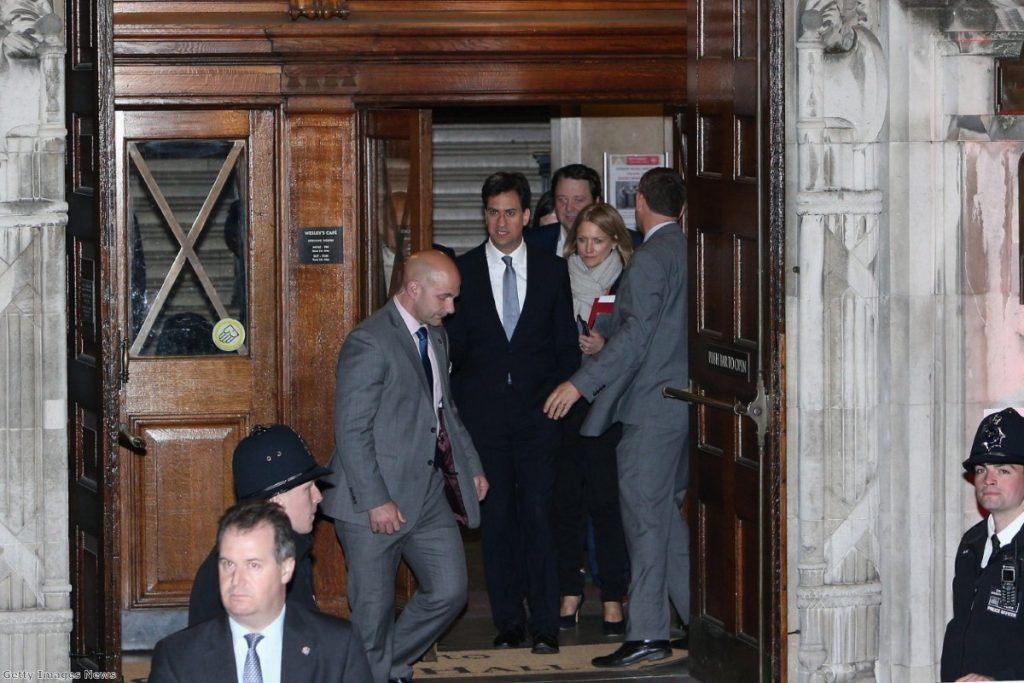 Miliband leaves the TV debate last night. It was no game-changer, but Labour will be pleased with how the evening went.