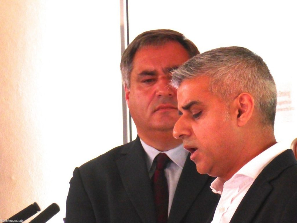 Labour London Assembly leader Len Duvall looks on as Sadiq Khan wins the nomination