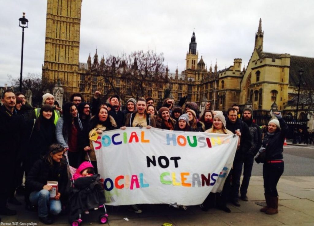 Members of the Focus E15 housing campaign at a protest in Westminster