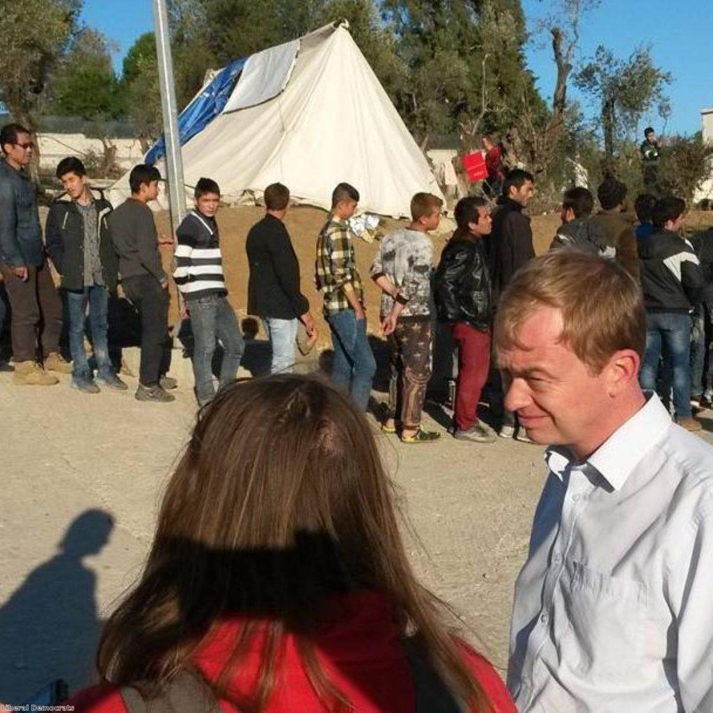 Tim Farron visiting the island of Lesvos last week