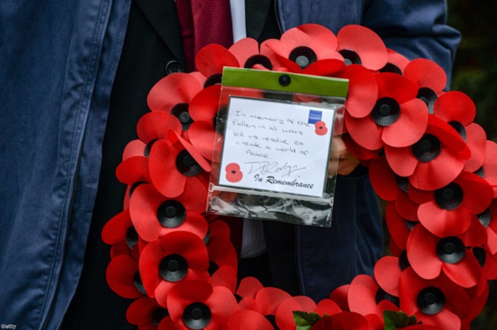 Wreath left by Jeremy Corbyn at the North Islington War memorial yesterday