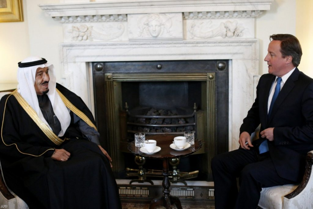 David Cameron speaks with Saudi defence minister Prince Salman bin Abdulaziz al-Saud during a meeting at No 10 in 2012