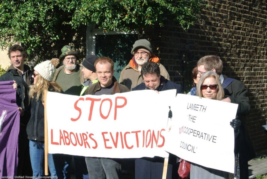 Campaigners protest against the sell-off of homes by Lambeth council