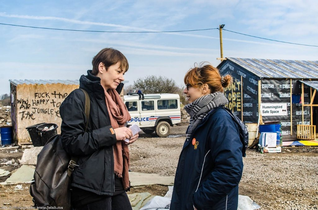 Caroline Lucas in the Calais camp last year. The Green party leader is standing up for a deal which allows continued free movement.