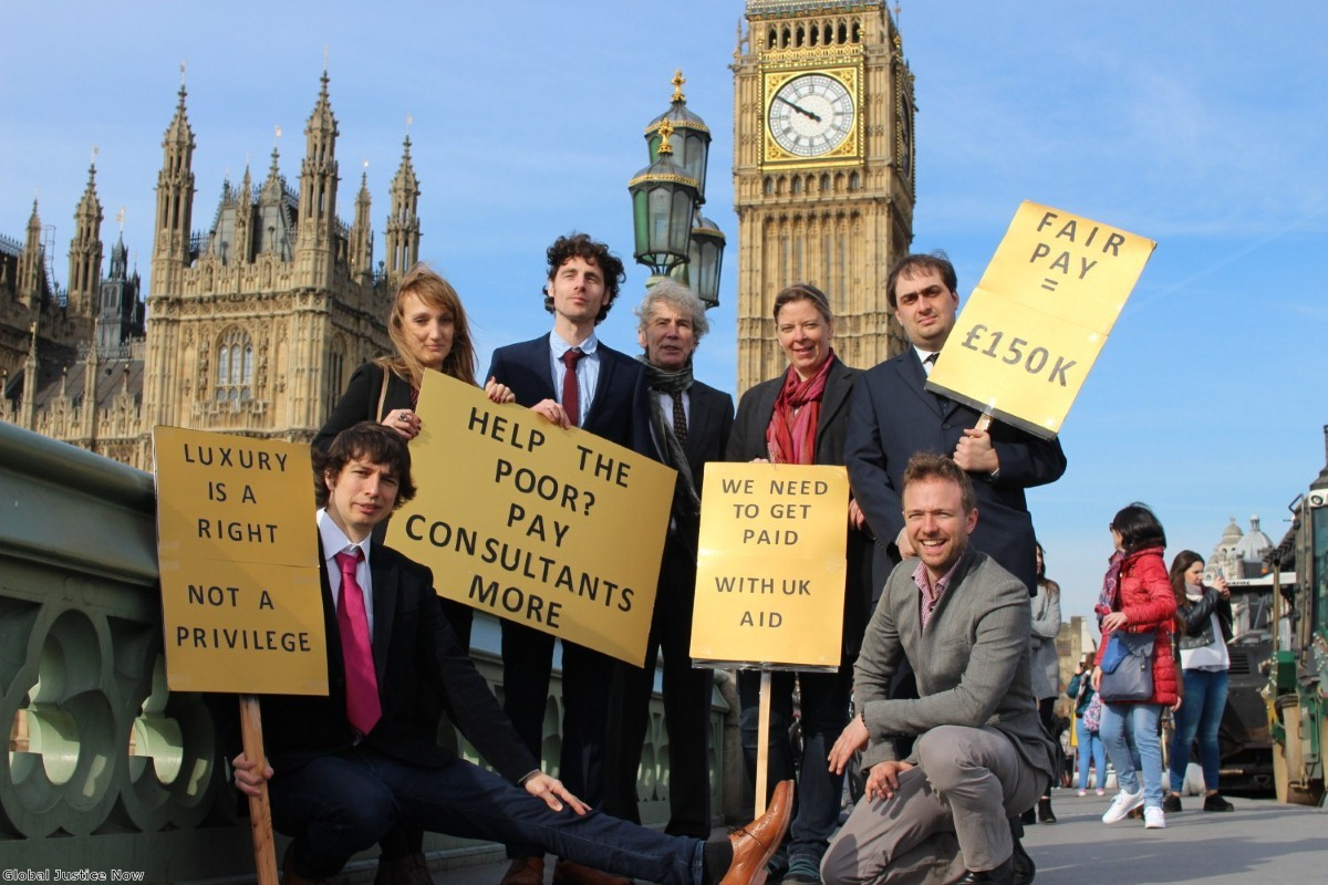 An April Fools Day protest over the privatisation of UK aid