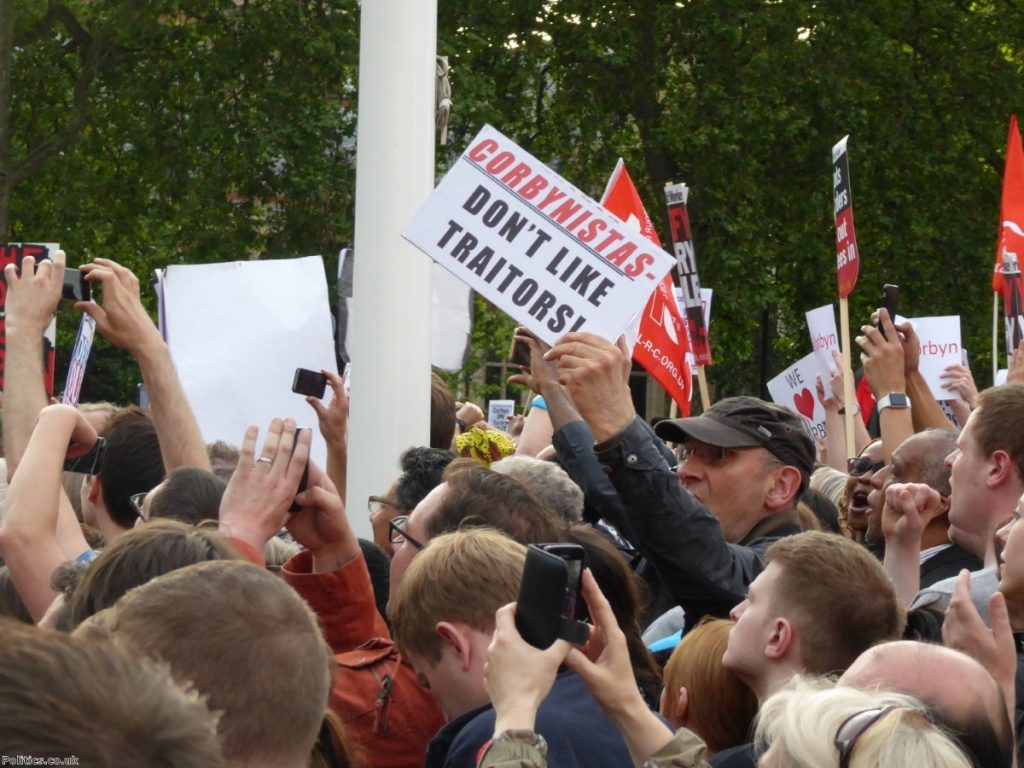 Jeremy Corbyn supporters greet the arrival of the Labour leader
