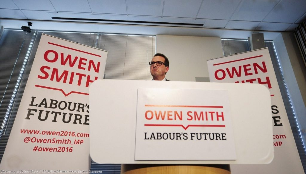 """Owen Smith says he'd like to """"smash"""" Theresa May """"back on her heels"""""""