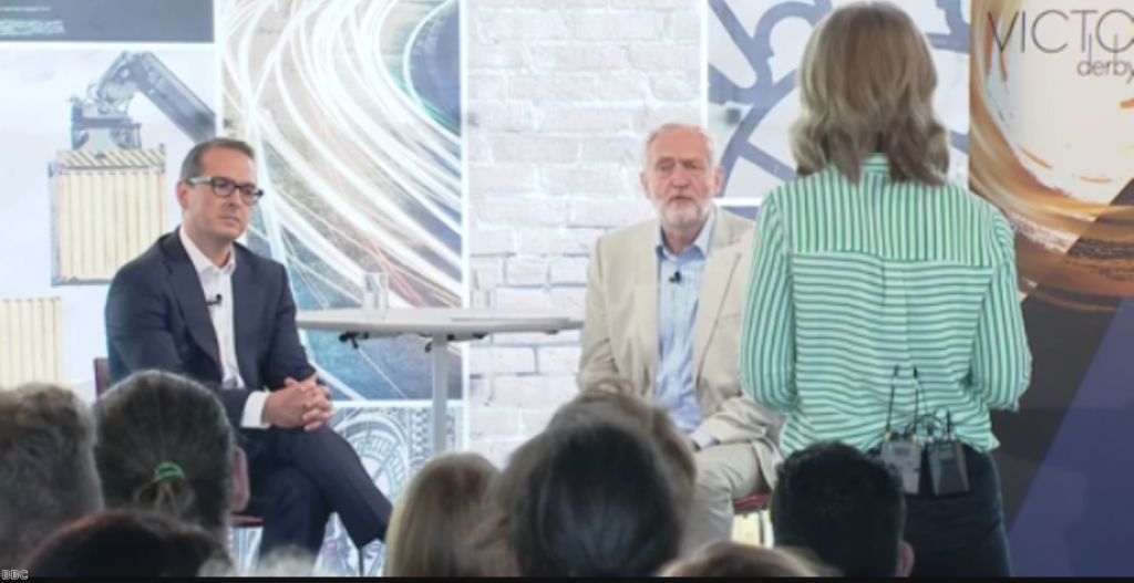 Owen Smith and Jeremy Corbyn clash gently at first televised hustings