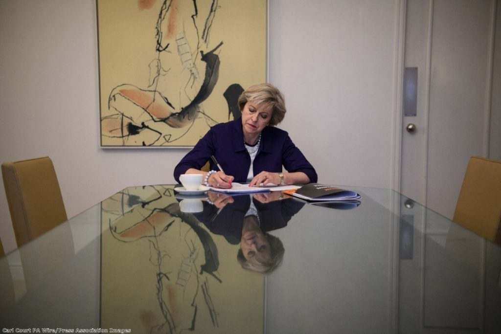 Theresa May prepares her Tory conference speech in Birmingham in 2016. The party faces a significant demographic problem in its elderly membership