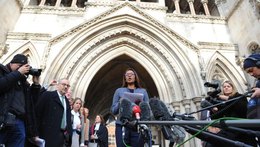 Gina Miller speaks to the media outside the High Court in London