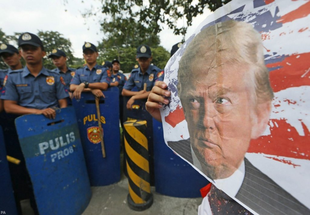 An anti-U.S. protest outside the US Embassy in Manila, Philippines