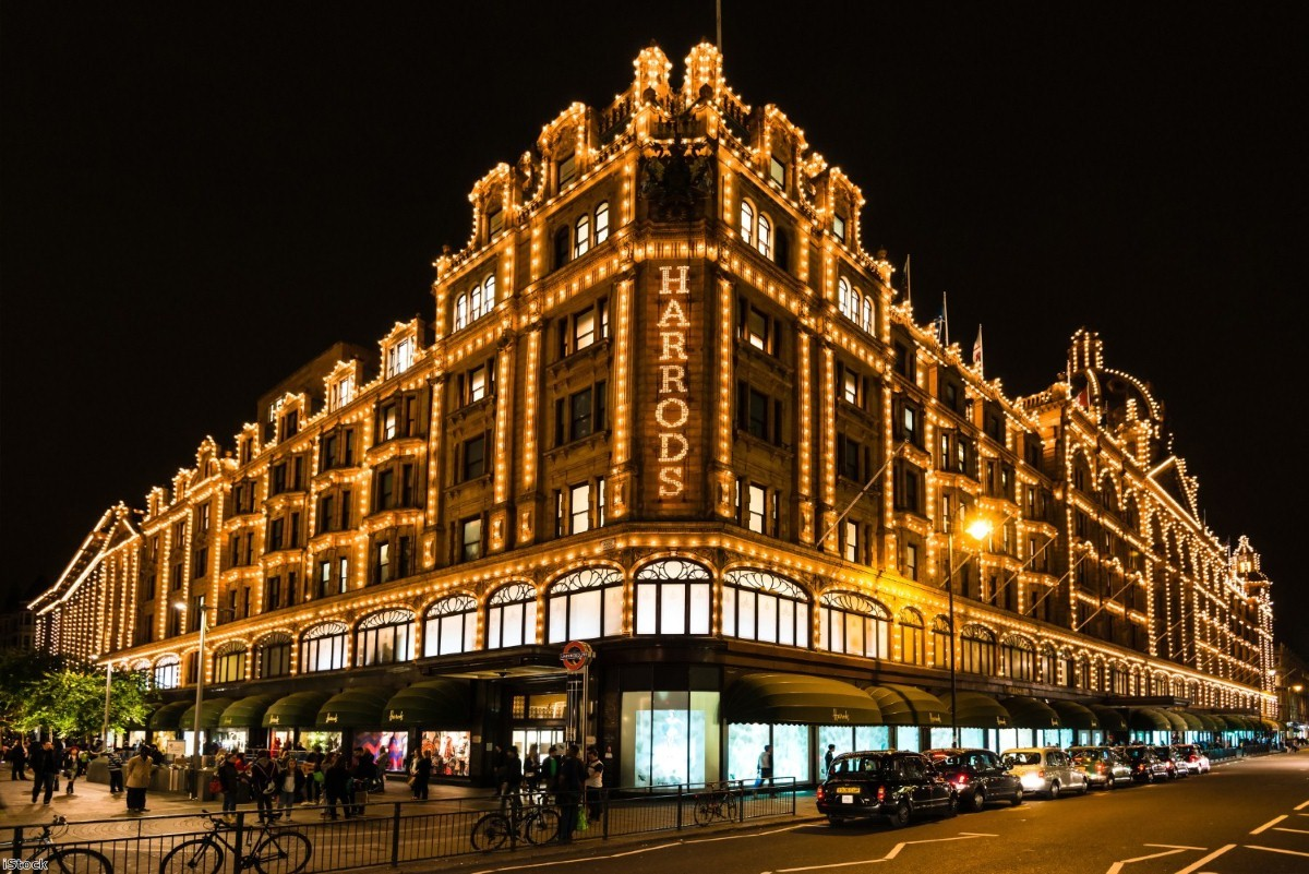 Protesters gathered outside Harrods yesterday over the company's tips policy
