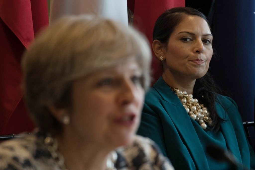 Priti Patel stares at Theresa May during a meeting with UN secretary general Antonio Guterres on how to tackle modern day slavery