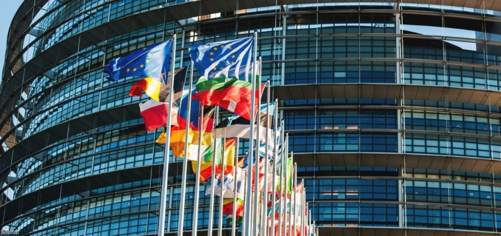 Flags in front of the European Parliament.   Copyright: iStock