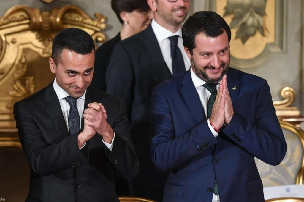 Matteo Salvini and Luigi Di Maio during the swearing-in ceremony for Italy's new government on June 1, 2018.   Copyright: PA