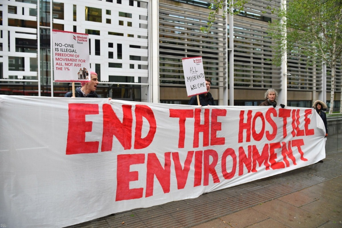 Protest against hostile environment policies outside the Home Office in April 2018   Copyright: PA