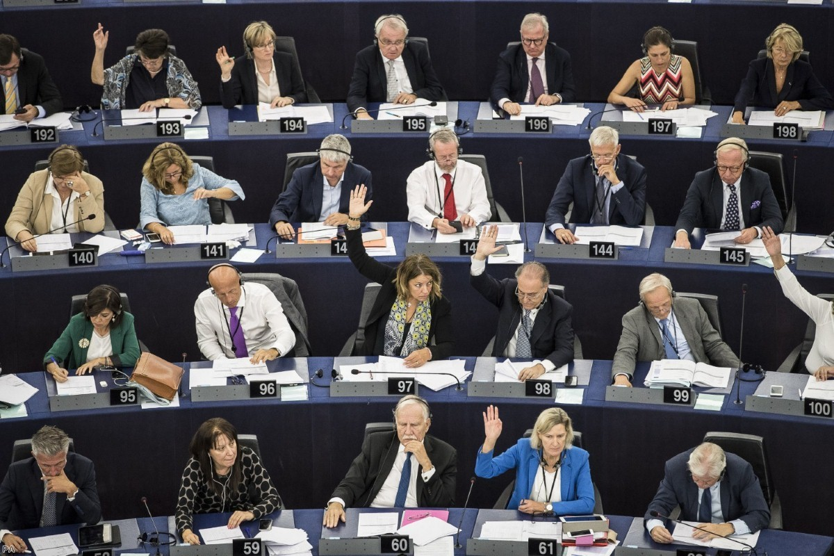 EU lawmakers voting against Viktor Orban for allegedly undermining the bloc's democratic values and rule of law   Copyright: PA