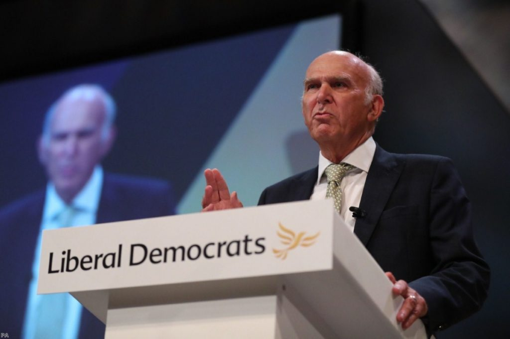 Sir Vince Cable delivers his keynote speech at the Liberal Democrats party conference | Copyright: PA