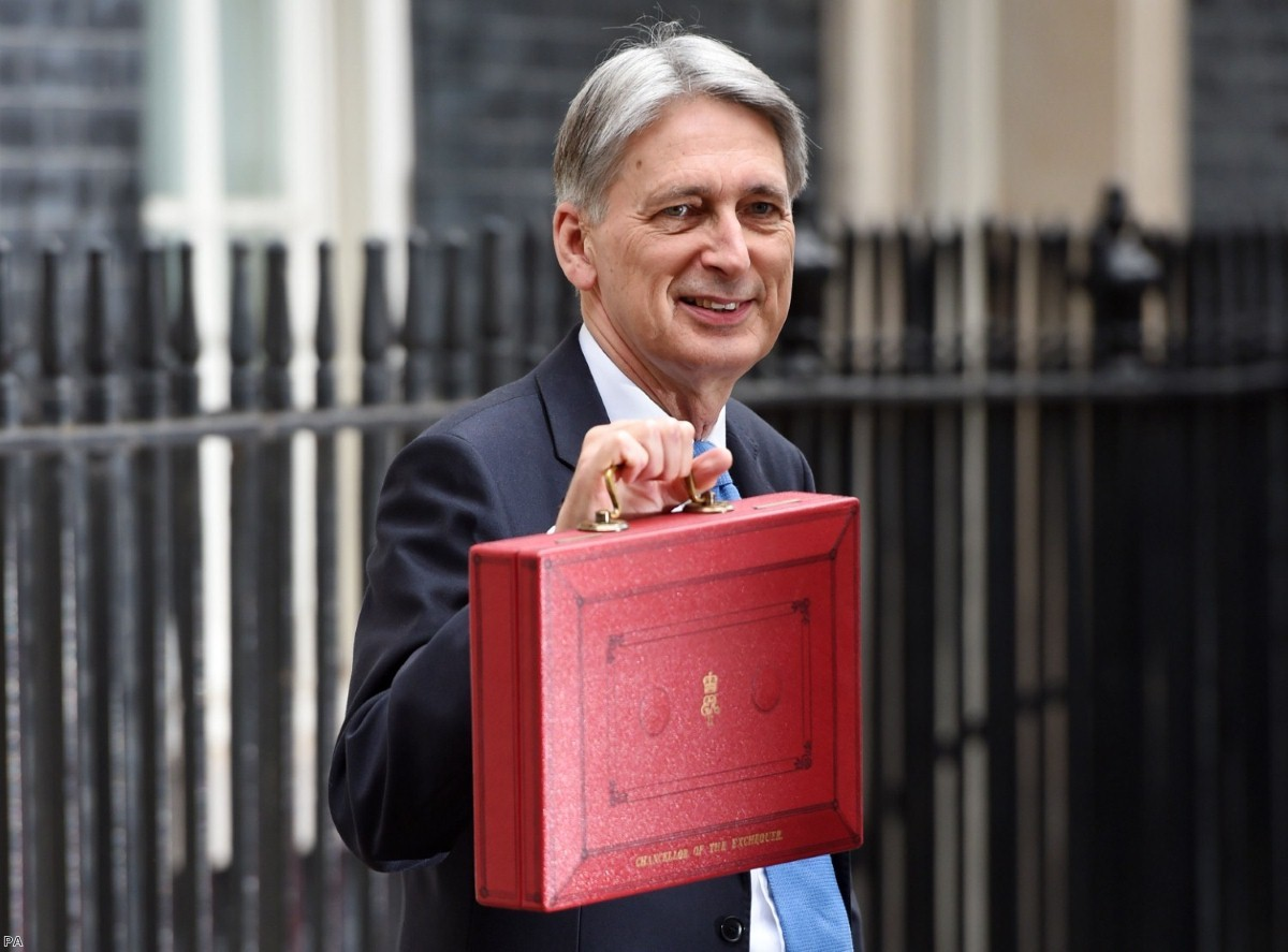 Philip Hammond holding his red ministerial box outside before heading to the House of Commons to deliver his 2017 Budget | Copyright: PA