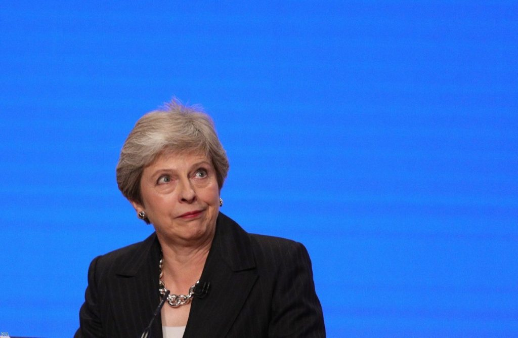 Prime Minister Theresa May makes her speech at the Conservative Party annual conference   Copyright: PA