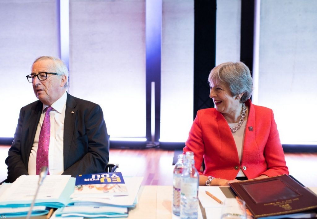 Jean Claude Juncker and Theresa May during the Informal Summit of Heads of Governments and States of the EU   Copyright: PA
