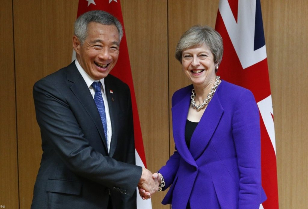 Singapore's Lee Hsien Loong meets Theresa May in Brussels on October 18th   Copyright: PA