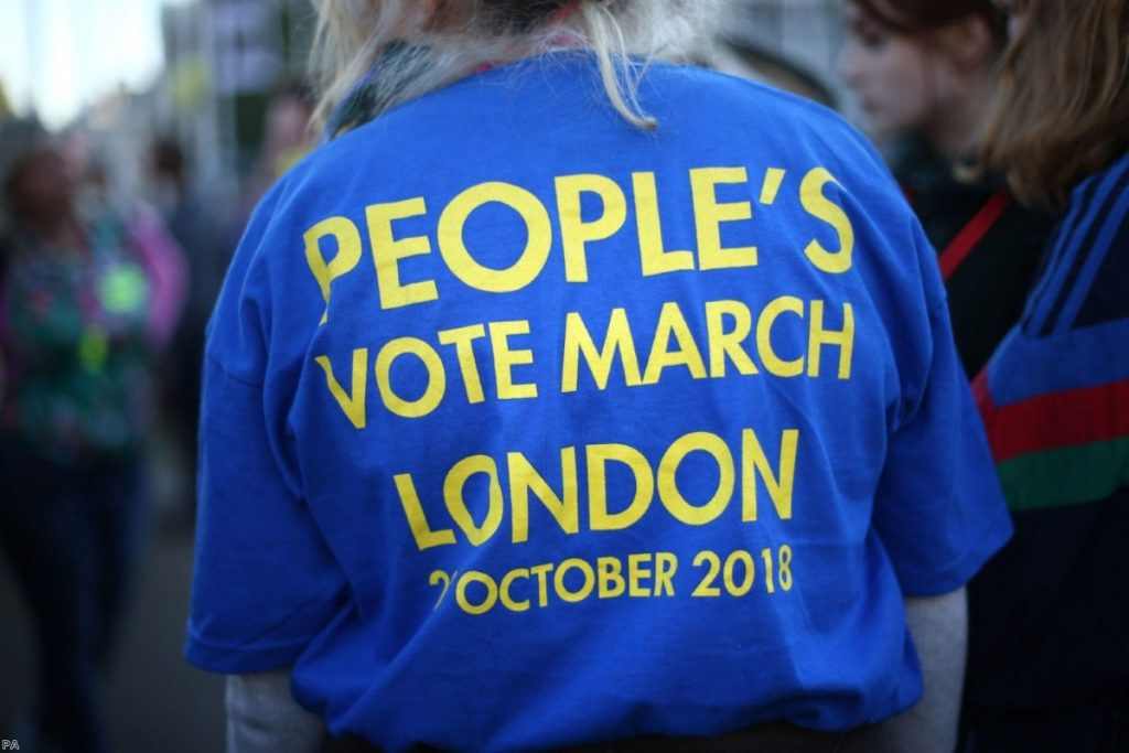 Anti-Brexit campaigners take part in the People's Vote March for the Future in London | Copyright: PA