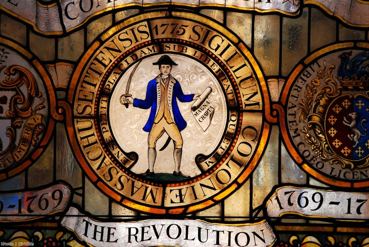 The Magna Carta is celebrated on a stained glass window in Massachusetts State House