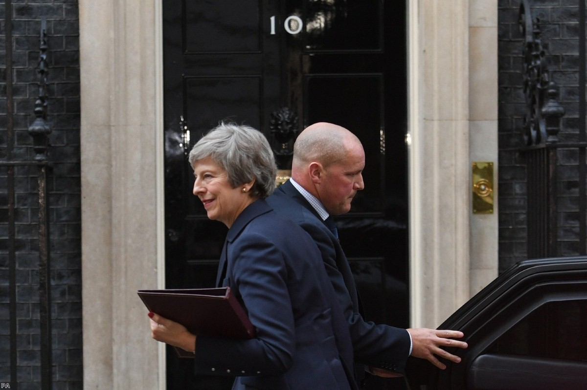 Theresa May outside Downing Street ahead of the publication of her Brexit deal.