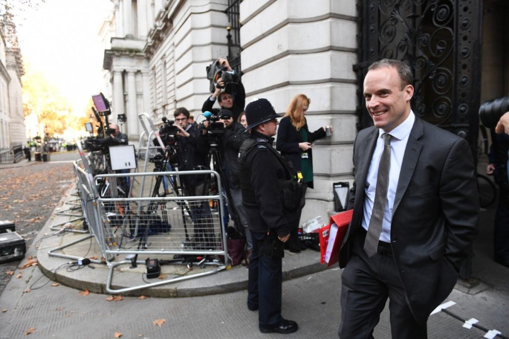Raab arrives in Downing Street for the Cabinet meeting yesterday. This morning, he resigned as Brexit secretary.