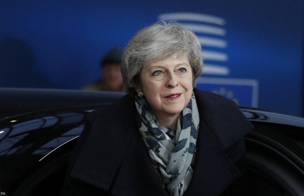 May arrives at the EU summit in Brussels. Leaders knocked back her proposals.