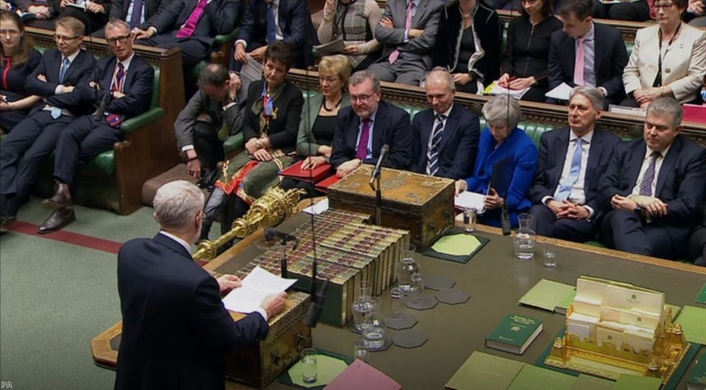 Corbyn during PMQs. The Labour leader's 'constructive ambiguity' policy has finally run out of road.