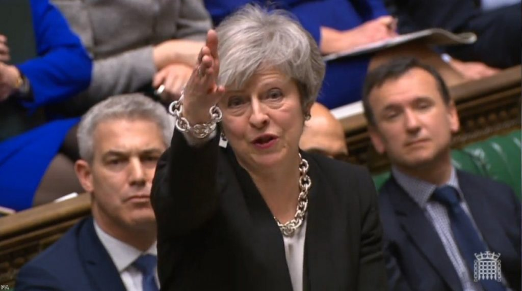 Theresa May during today's marathon debate. She survived to fight another day.