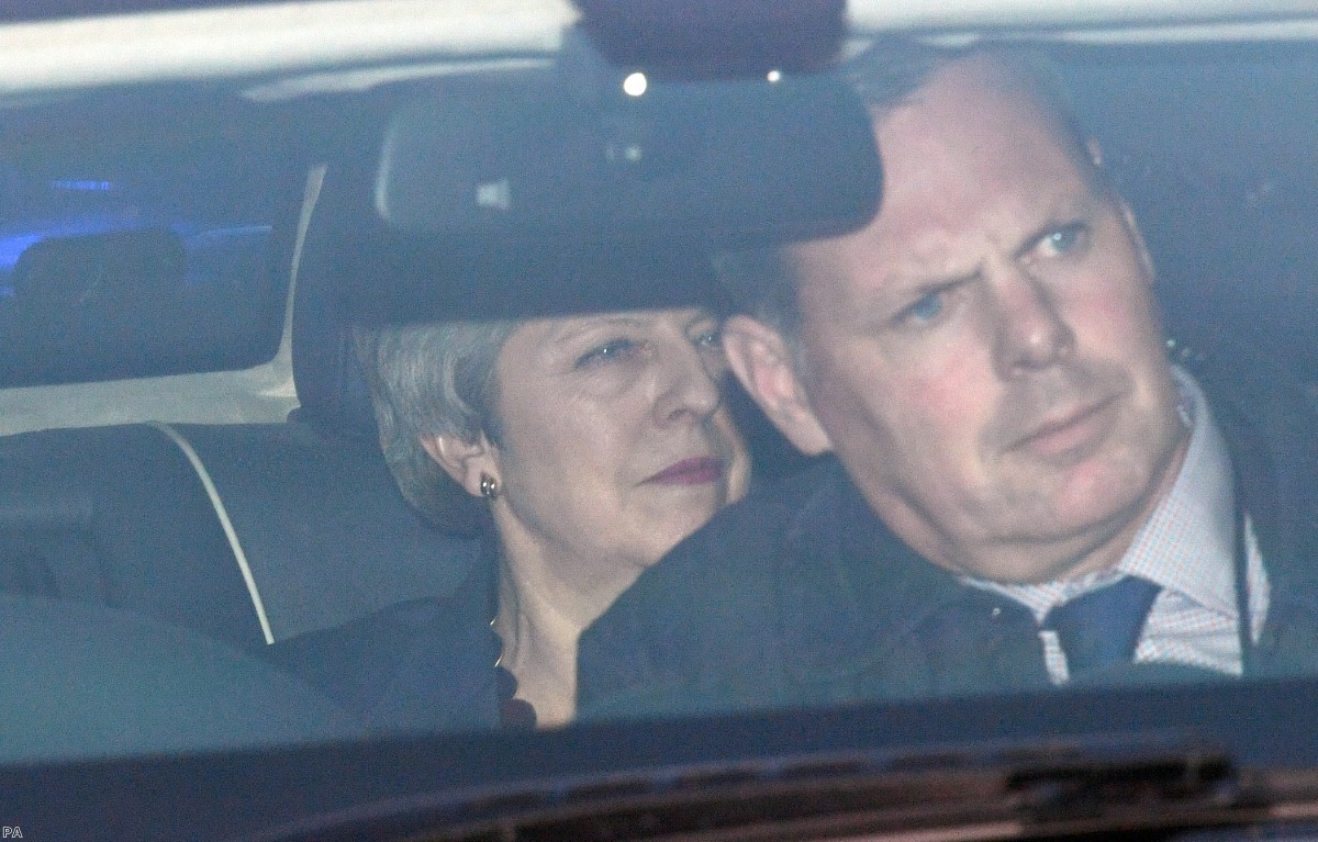 May leaves parliament after telling her MPs she will not remain in post for the next phase of Brexit negotiations this evening