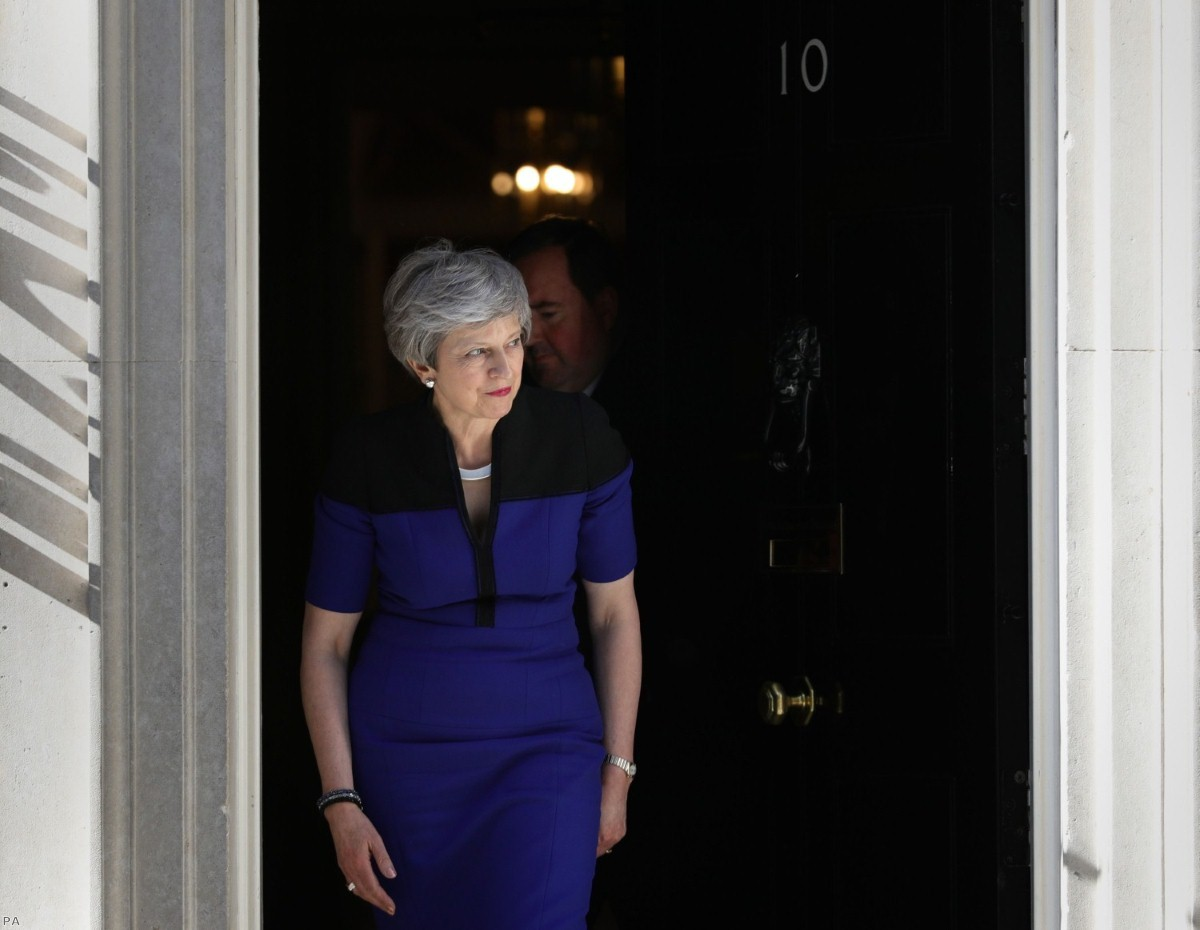 May leaves No.10 for a meeting with to Nato secretary general Jens Stoltenberg earlier this week.