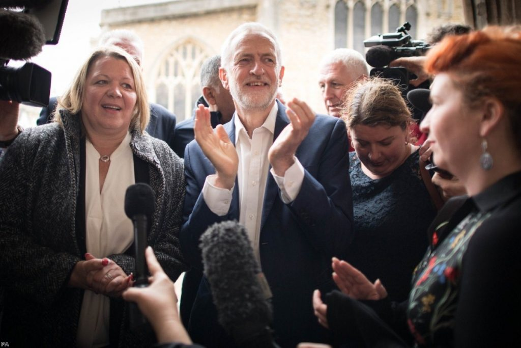 Labour leader Jeremy Corbyn with Lisa Forbes, the new MP for Peterborough