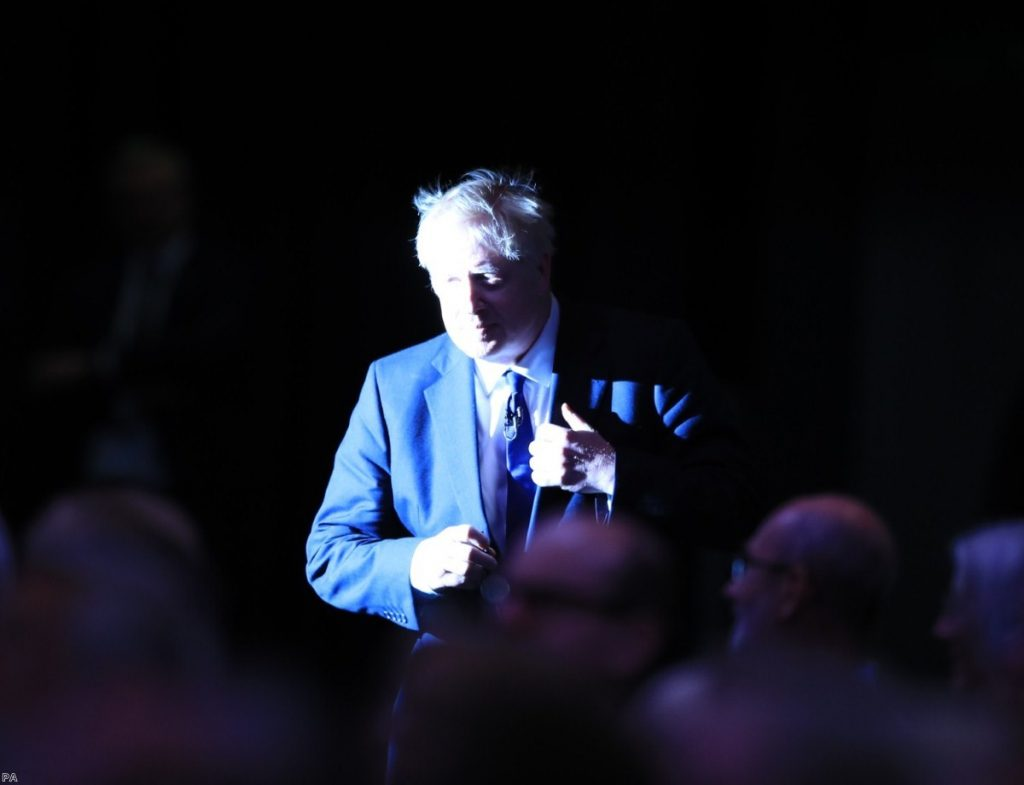 Johnson arrives to speak during a Tory leadership hustings in Manchester over the weekend