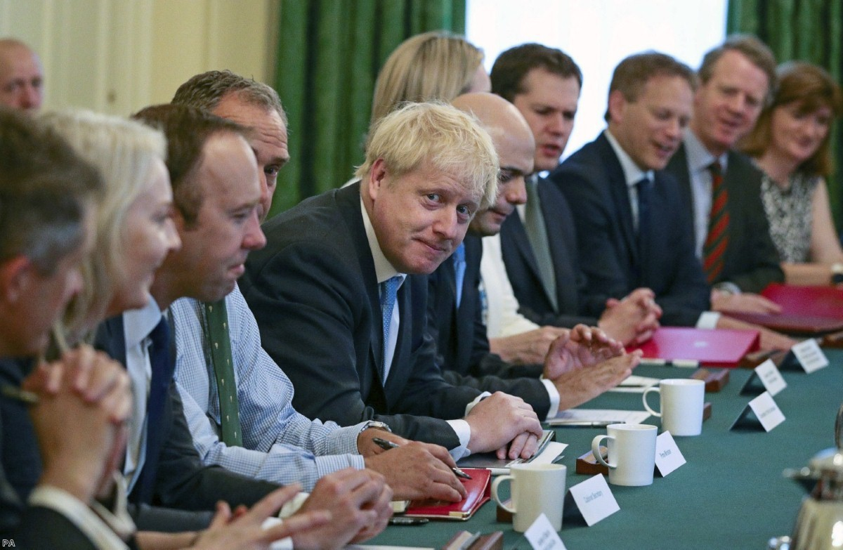 The new Johnson Cabinet as it sat for the first time this morning.