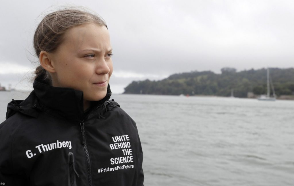 Greta Thunberg before she began her voyage to the US on the Malizia II.