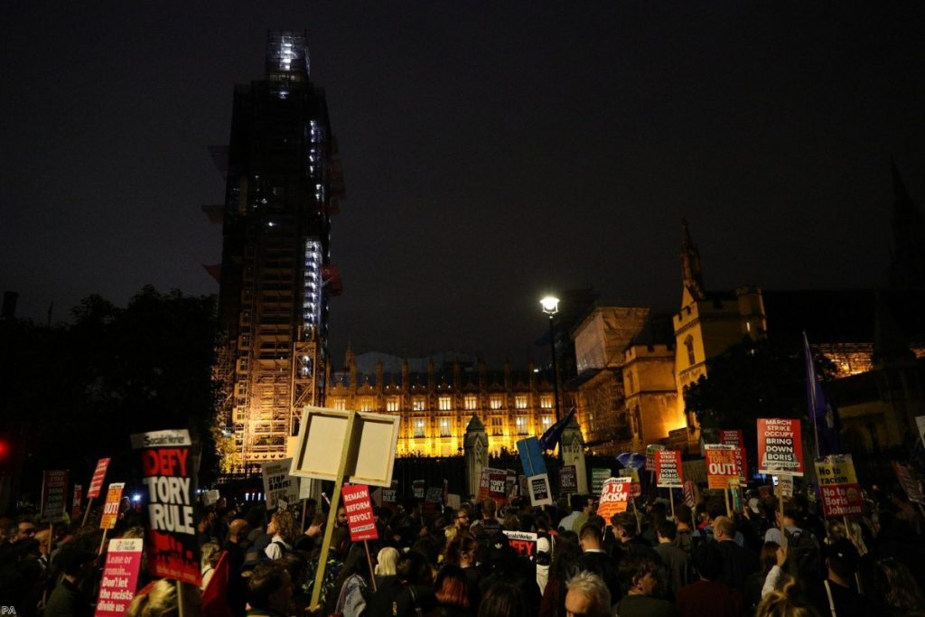 Protests took place outside parliament as the debate happened in the Commons.