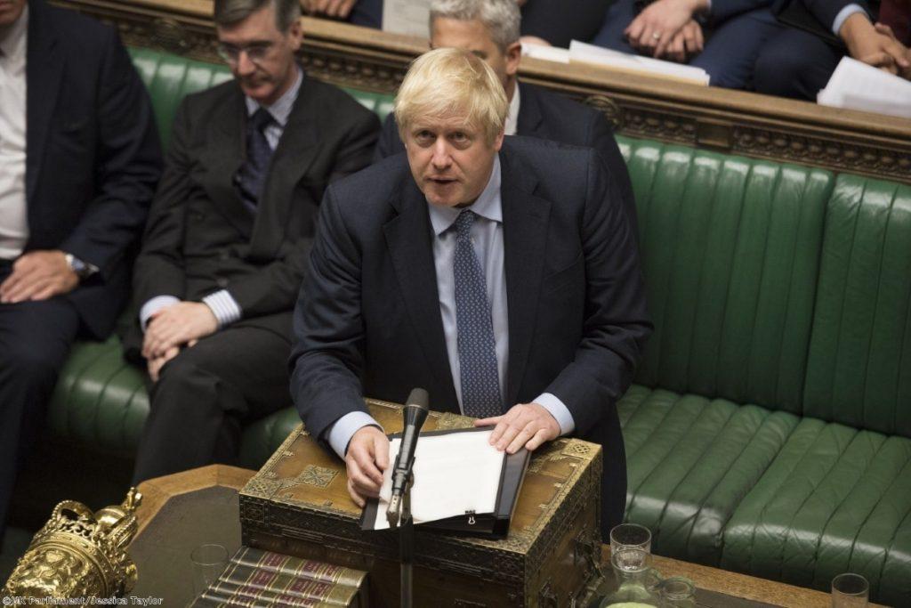 Boris Johnson gazes upwards during tonight's debate