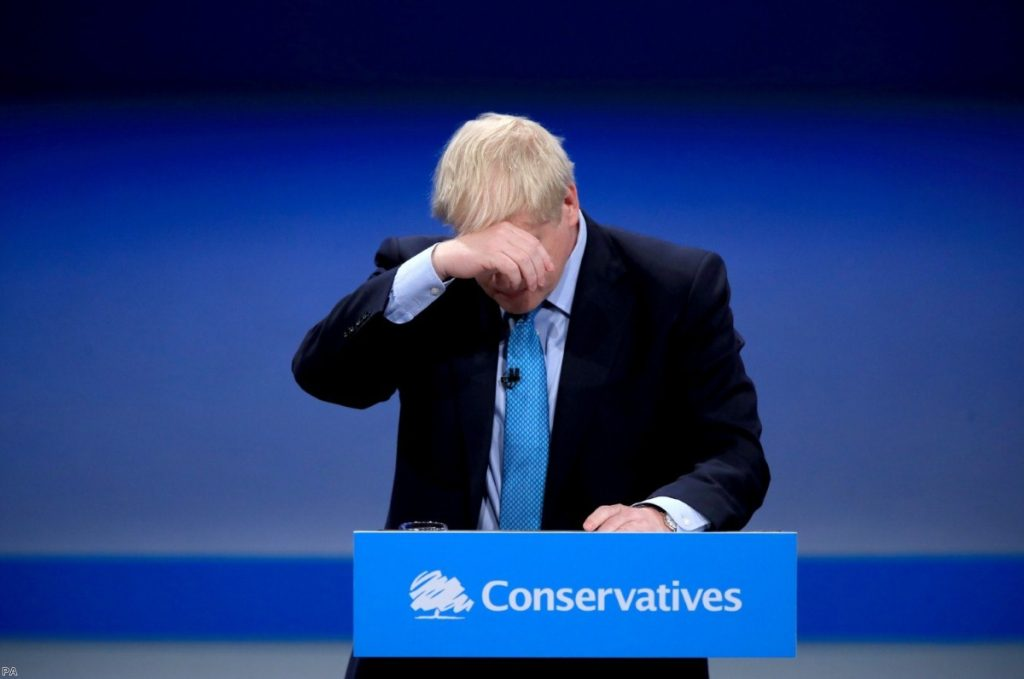 Boris Johnson cuts a subdued figure during his Tory conference speech today.