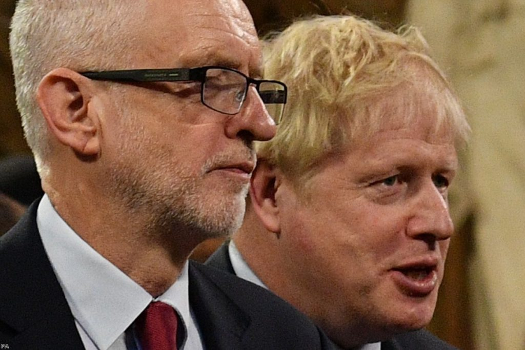 Corbyn and Johnson during the state opening of parliament. Many voters are turned off by both leaders.