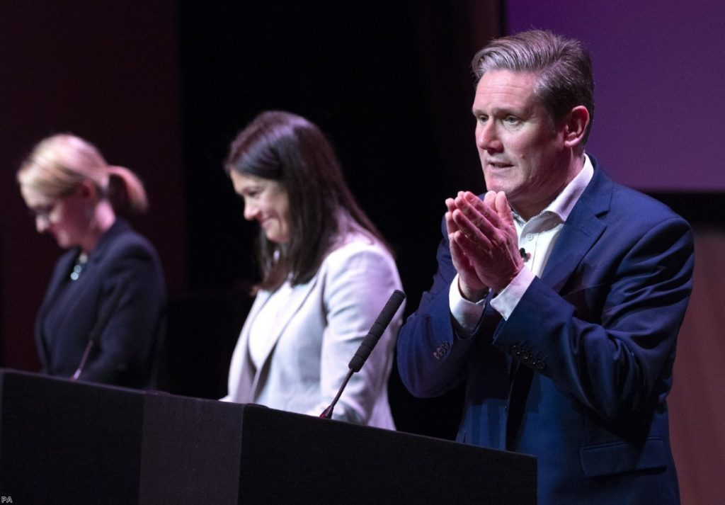 Keir Starmer speaking alongside Lisa Nandy and Rebecca Long-Bailey during the Labour leadership hustings in Glasgow
