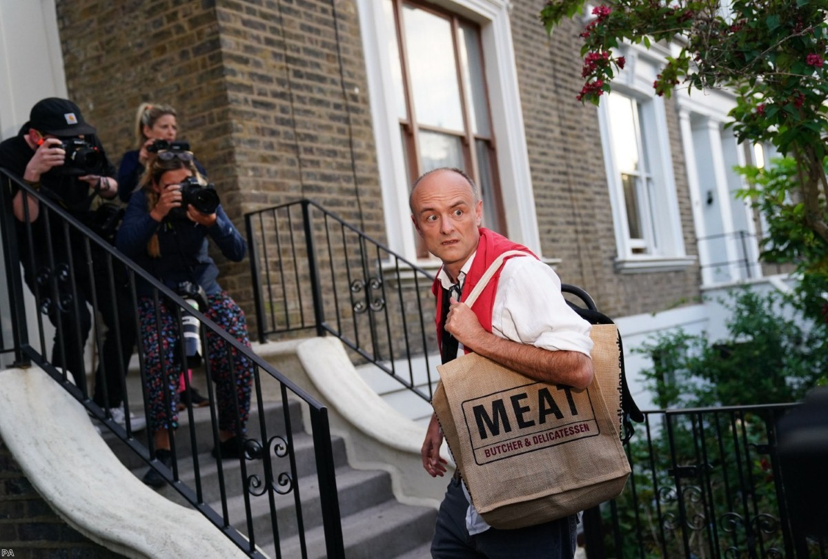 Dominic Cummings arrives at his north London home yesterday after his press conference in Downing Street.