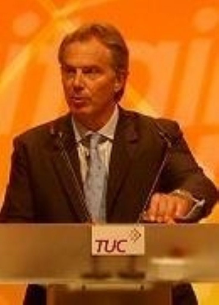 Tony Blair last year at the TUC conference in Brighton