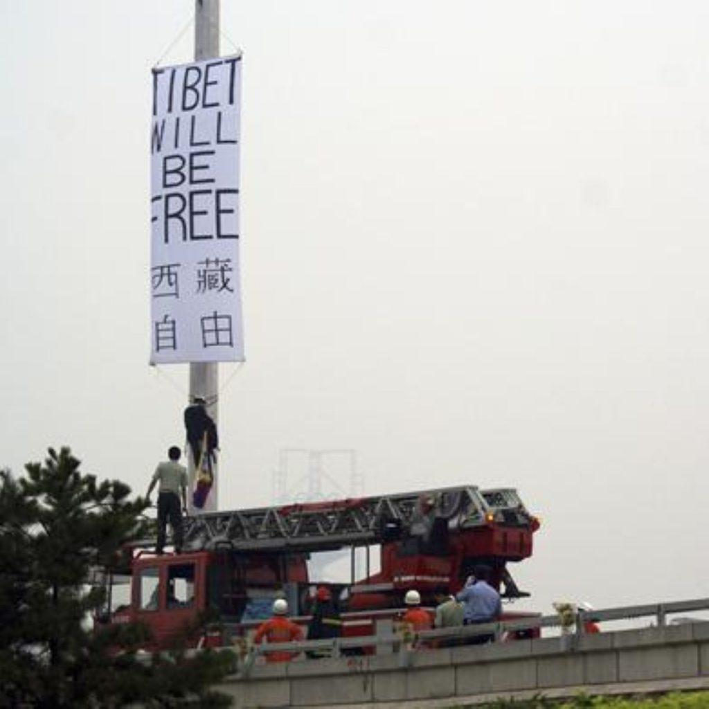 The Tibetan protest outside the birdnest staduim