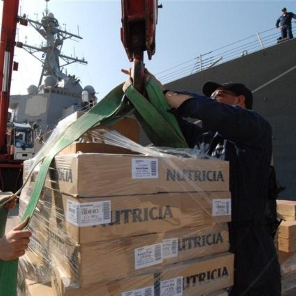 US military ships aid to Georgia during the 2008 conflict. Could British forces end up spending DFID money to do the same?