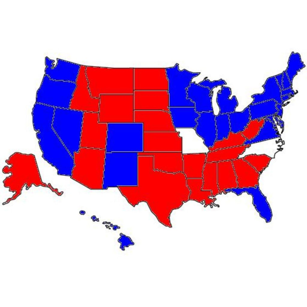US election results - state by state map